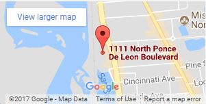 map of 1111 N Ponce De Leon Blvd
